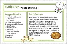 APPLE STUFFING Recipes - CREATING A SIMPLER LIFE