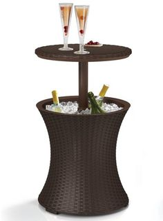 Brown rattan patio cooler cocktail table