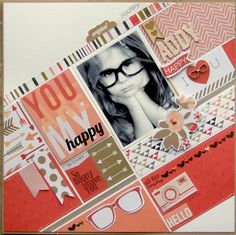 You are my happy #layout by Nicole Nowosad #scrapbook