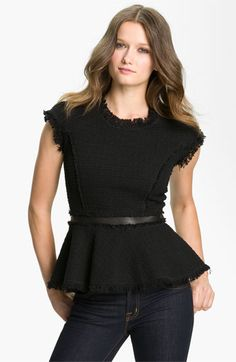 Rebecca Taylor Peplum Tweed Top  #falltrends