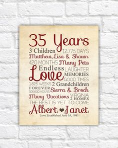 35th Anniversary, ANY YEAR Anniversary Gifts, Personalized Art for Anniversary, Husband, Wife, Gift for Parents, Parents Anniversary Date