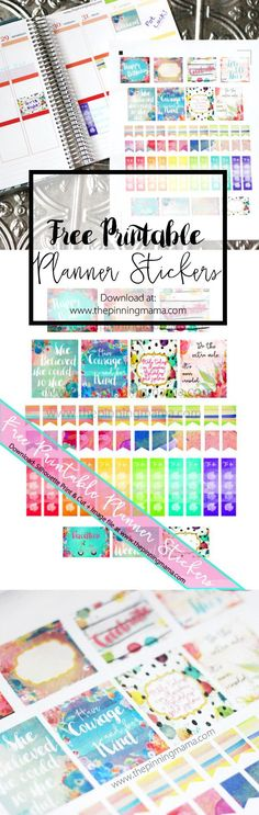Free Erin Condren Planner Stickers- These watercolor stickers are TO-DIE-FOR! Free Silhouette CAMEO print and cut file and image file. To Do Planner, Free Planner, Erin Condren Life Planner, Planner Pages, Happy Planner, Planner Ideas, Passion Planner, Bujo, Weekly Planner Printable