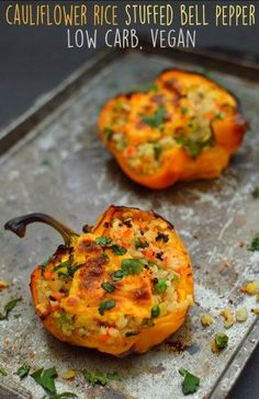 Vegan Cauliflower Rice Stuffed Bell Peppers - 3 Vegan Low Carb / Keto Recipes - Rich Bitch Cooking Blog