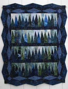 Much easier than it looks like and suitable for jelly rolls too! Blue Spruce Quilt Pattern (intermediate, lap and throw) Tree Quilt Pattern, Jelly Roll Quilt Patterns, Batik Quilts, Blue Quilts, Denim Quilts, Scrappy Quilts, Quilting Projects, Quilting Designs, Quilting Ideas
