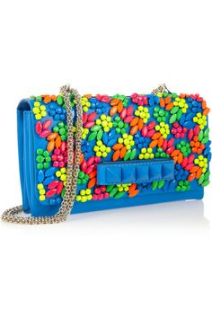 Fun fun spring! --> Valentino Va Voom crystal embellished leather shoulder bag in crayola brights via Net-A-Porter
