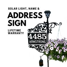Reflective Address Sign - Double Sided Address Marker with pole & double scroll and 2 plant hooks with Solar Light Garden Decor Driveway Markers, Mailbox Makeover, Luz Solar, Plant Hooks, Potted Trees, Diy Signs, Solar Lights, Wedding Signs, Mother Day Gifts