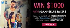 You can win $1000 in the Matrix Salon Selfie Sweepstakes by uploading a salon selfie on Twitter or Instagram, taggging @ matrix (Instagram) or @ matrixfamily (Twitter) and using the hashtag #SalonSelfieSweeps Read more here: http://www.matrix.com/sweeps