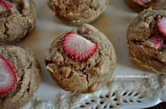 Strawberry Rhubarb Muffin: made with #oatflour,  #dairyfree and #glutenfree, these muffins are also #glutenfree. #strawberryrhubarb #strawberryrhubarbmuffins #healthystrawberryrhubarb #gardenfresh #gardenfreshfoodie www.gardenfreshfoodie.com