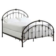 Refresh your master suite or guest room with this lovely metal bed, showcasing a dark bronze finish and turned posts.  Product: ...