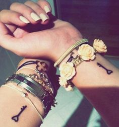 Best Friends - Key to the heart Niece Tattoo, Bestie Tattoo, Bff Tattoos, Tatoos, Small Key Tattoos, Small Friendship Tattoos, Small Sister Tattoos, Frienship Tattoos, Group Tattoos