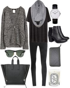 black pants, black tee, grey sweater, outfit, minimal, chic, love, casual