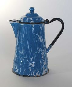 "Graniteware – Agateware Coffee Pot ~ from ""Mid-Coast Fine Antiques of Maine"" shop"