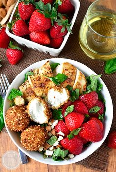Strawberry-Basil Chicken Salad with Fried Goat Cheese Balls is a fresh and flavor-packed dish - crunchy, creamy, sweet, and savory! Goat Cheese Stuffed Chicken, Fried Goat Cheese, Goat Cheese Salad, Basil Chicken, Chicken Salad, Fresh Chicken, Salad Bar, Soup And Salad, Bread Dishes