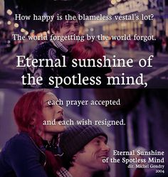 Eternal Sunshine of the Spotless Mind is easily the best film JIm Carrey will ever make.
