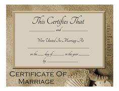 Marriage Certificate  Pearl Dove  WeddingdepotCom  U