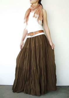 NO.5 Greenish Brown Cotton, Hippie Gypsy Boho Tiered Long Peasant Skirt. $38.00, via Etsy.
