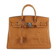 03b645426b3 Awesome Perfect Hermes Birkin 35CM Horse-Drawn Bag 6089 Light Coffee Silver  Hardware Sale