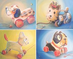 This artist will do a custom painting of your dog as a pull toy. How cute is that??????