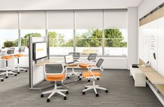 Easily accessible, this is a space for 2-4 people to host a meeting. Integrated whiteboards along with Steelcase media:scape supports the sharing of both analog and digital content.