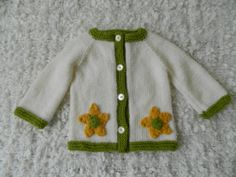 Handmade Knit Spring Baby Cardigan Sweater With by RodiAndSuzi, $38.00