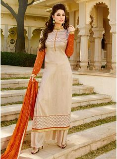 Latest Cream And Orange Georgette With Tussar Silk Pakistani Suit. Buy Designer Georgette Pakistani Suit In Fiji. http://www.angelnx.com/