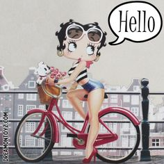 Hello MORE Betty Boop Images http://bettybooppicturesarchive.blogspot.com/  ~And on Facebook~ https://www.facebook.com/bettybooppictures  Betty Boop riding her bike with Pudgy in her basket with flowers