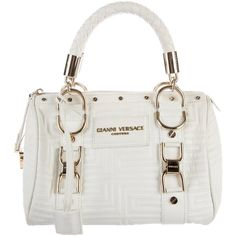 Pre-owned Gianni Versace Madonna Quilted Bag ($575) ❤ liked on Polyvore featuring bags, handbags, white, woven handbags, white quilted handbag, quilted leather purse, woven purses and quilted handbags