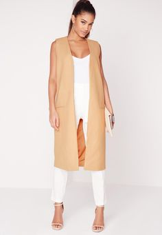 Missguided Longline Sleeveless Coat in Camel as seen on Jamie Chung