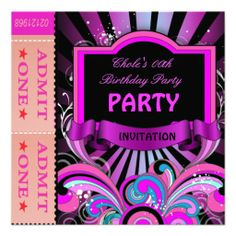 Fun Birthday Party Girls Hot Pink Tickets 2 Custom Invitations