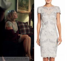 "Riverdale: Season 1 Episode 12 Alice's Embellished Sheath Dress | Shop Your TV Alice Cooper (Madchen Amick) wears this lace v neck mesh short sleeved sheath dress in this episode of Riverdale, ""To Riverdale and Back Again"".  It is the Tadashi Shoji Lace Sheath Dress."