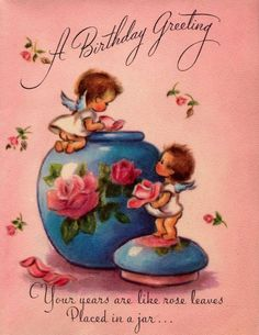 Vintage 1949 A Birthday Greeting Cherubs by poshtottydesignz Vintage Birthday Cards, Vintage Greeting Cards, Birthday Greeting Cards, Birthday Greetings, Vintage Postcards, Birthday Wishes, Retro Illustration, Vintage Illustrations, Happy Birthday Beautiful