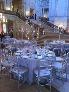Elegant trees for a City Hall wedding reception.