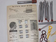Antique Hair Curlers and Hair Pins by EdandMarysjunk on Etsy