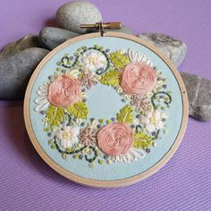 Check out this item in my Etsy shop https://www.etsy.com/listing/264559138/hand-embroidered-mini-wreath-4