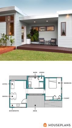 Modern inlaw cabin floor plan and elevation plan number 507-1