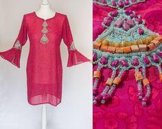 Vintage hippy groovy fuchsia pink ruby mini by VintageVanillaShop #vogueteam #voguet