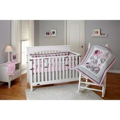 This is adorable! Little Bedding by NoJo Elephant Time 4-Piece Crib Bedding Set: Pale Pink, Dark Pink, Pale Gray, Dark Gray - No Browns or Blacks - YAY! :)