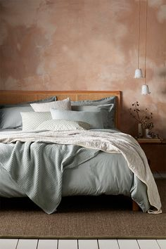 Silky and sumptuous, our Super Soft Sateen Sage Bed Linen is made from cotton sateen dyed a delicate shade of green. Shop all our luxury bedding here. Bedding Master Bedroom, Linen Bedroom, Room Ideas Bedroom, Bedroom Inspo, Bedroom Decor, Sage Green Bedroom, Earthy Bedroom, Green Bedding, Bedding Inspiration