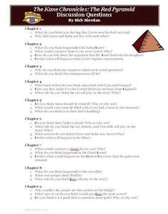 FREE! The Kane Chronicles: The Red Pyramid Chapter Discussion Questions by Rick Riordan. Included in this FREE zipped file are two documents.