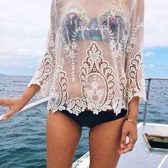 sheer over floral bra