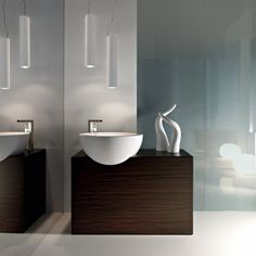 Bathroom Minimalistic Vanity Units Design White Neutral Modern High Gloss Concrete Wall Square Brown Traditional Varnished Wooden Medicine Cabinet Round White Ceramic Lavatory Plain Contemporary Laminate Marble Floor Elegant Vanity Bathroom Design Ideas