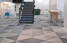 Geometric floor pattern using Bolon Studio™ Triangle tiles in the office of Skype in Stockholm, Sweden Habitat Collectif, Prison, Office Floor, Floor Patterns, Office Interiors, Outdoor Rugs, Tile Floor, Tiles, Indoor