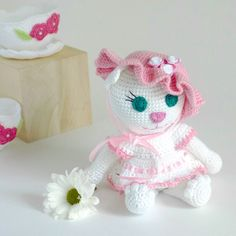 Cute crochet cat is perfect gift for little girl.