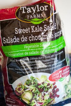 Taylor Farms Sweet Kale Salad: Broccoli, Brussels Sprouts, Cabbage, Kale, Chicory, Dried Cranberries, Roasted Pumpkin Seeds and Poppyseed Dressing ... This salad delivers every single time. For $4.99/bag at Costco, it is a MUST BUY.
