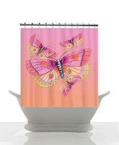 Rideau de douche papillon - rose et pêche - Art Illustration aquarelle, papillons, décor girlie, bain, maison