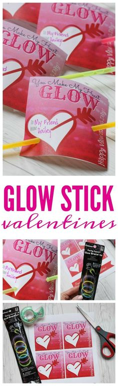 Glow Stick Printables! Easy Holiday Ideas for your child's class or school Valentine's Day Parties! #valentinesday #diyvalentinestreats #valentines #easyvalentines