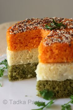A Tricolour Dhokla Dhamaka Indian Appetizers, Indian Desserts, Indian Snacks, Indian Breakfast, Breakfast For Dinner, Breakfast Recipes, Dinner Recipes, Breakfast Bites, Khandvi Recipe