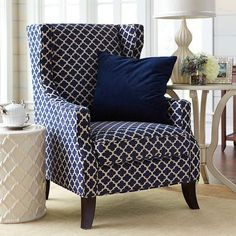 Alec Navy Blue Trellis Wing Chair