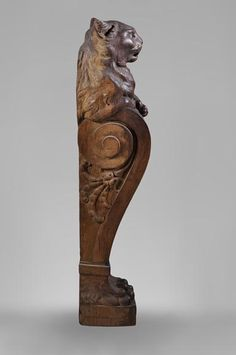 Rare oak wood stair banister with cat decor - Architectural elements, staircase, columns Stair Banister, Wood Staircase, Banisters, Stairs, Architectural Antiques, Architectural Elements, Tree Sculpture, Lion Sculpture, Wood Table Legs