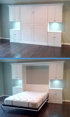 Murphy Beds are a great addition to any home. Add an extra bedroom without adding any square feet! Here's a look at how to get one installed in your home. Possibly the guest bedroom/playroom/sunroom? House, Small Spaces, Home, Home Bedroom, Extra Bedroom, Home Remodeling, Basement Bedrooms, Remodel Bedroom, Guest Room Office